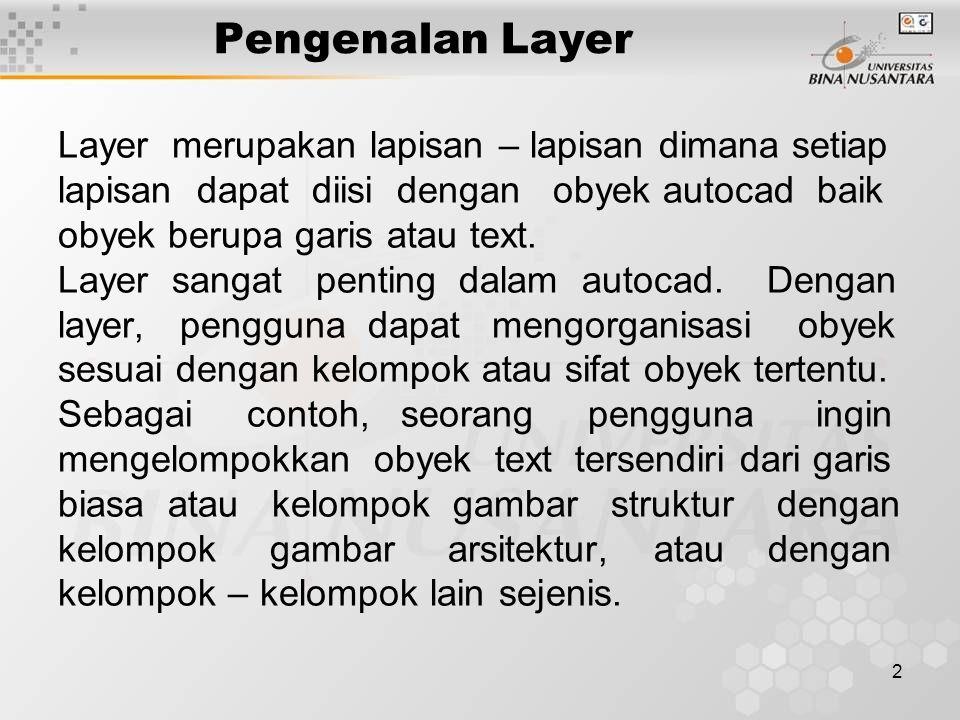 Pengenalan Layer Layer merupakan lapisan – lapisan dimana setiap