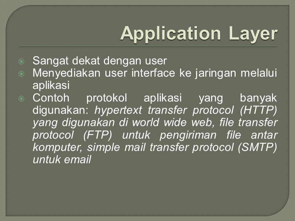 Application Layer Sangat dekat dengan user