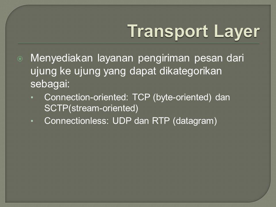 Transport Layer Menyediakan layanan pengiriman pesan dari ujung ke ujung yang dapat dikategorikan sebagai: