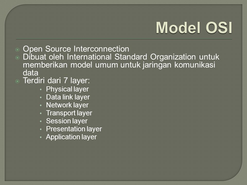 Model OSI Open Source Interconnection