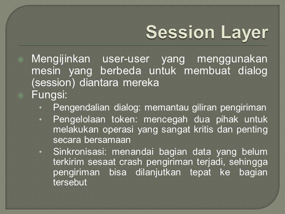 Session Layer Mengijinkan user-user yang menggunakan mesin yang berbeda untuk membuat dialog (session) diantara mereka.