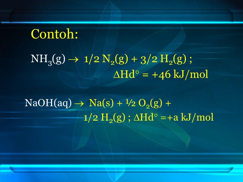 Contoh: NH3(g)  1/2 N2(g) + 3/2 H2(g) ; Hd = +46 kJ/mol