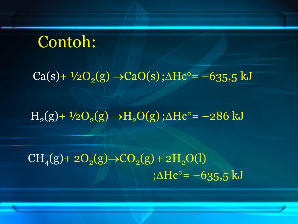 Contoh: Ca(s)+ ½O2(g) CaO(s) ;Hc= –635,5 kJ