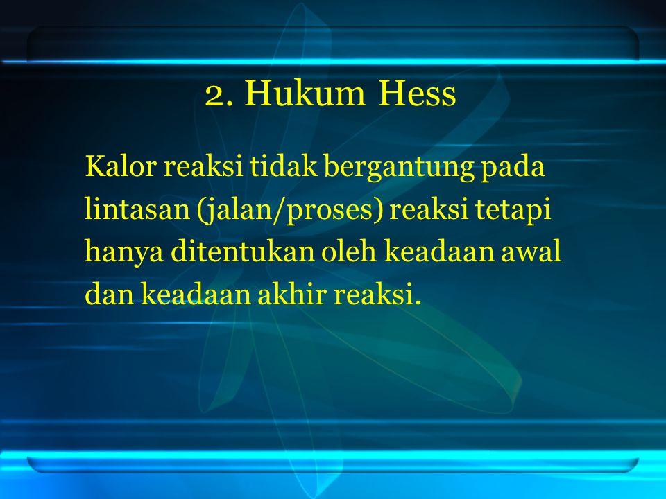 2. Hukum Hess Kalor reaksi tidak bergantung pada