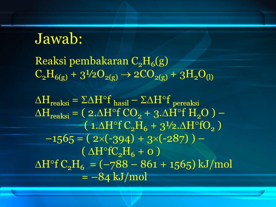 Jawab: Reaksi pembakaran C2H6(g) C2H6(g) + 3½O2(g)  2CO2(g) + 3H2O(l)