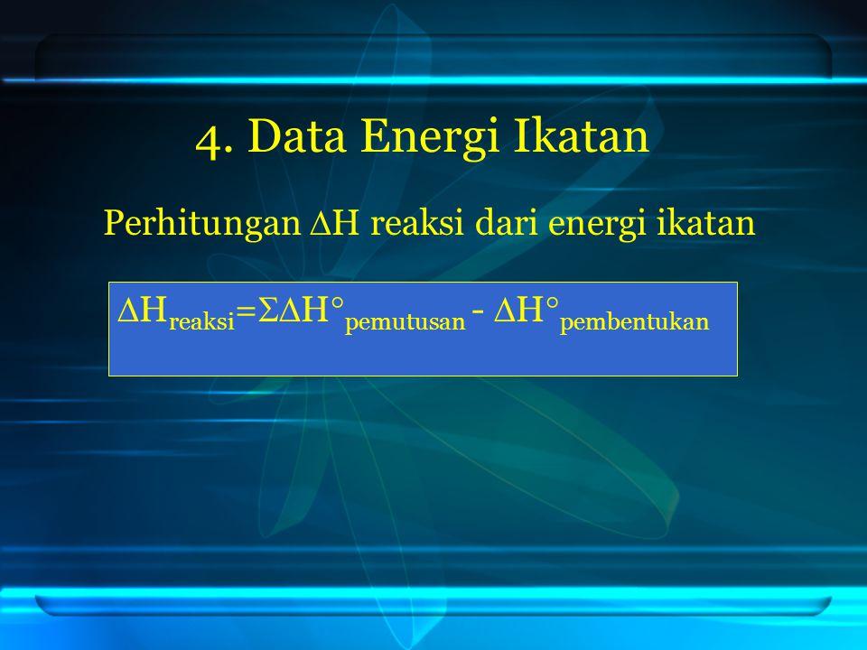 4. Data Energi Ikatan Perhitungan H reaksi dari energi ikatan