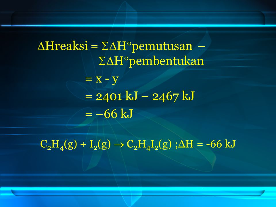 C2H4(g) + I2(g)  C2H4I2(g) ;ΔH = -66 kJ