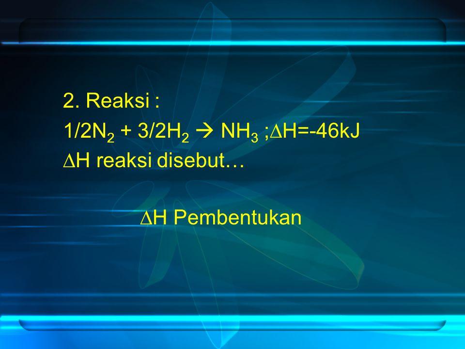 2. Reaksi : 1/2N2 + 3/2H2  NH3 ;H=-46kJ H reaksi disebut… H Pembentukan
