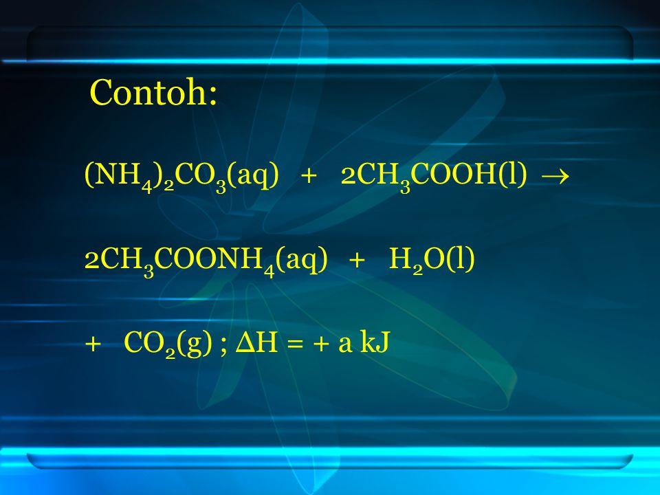 Contoh: (NH4)2CO3(aq) + 2CH3COOH(l)  2CH3COONH4(aq) + H2O(l)