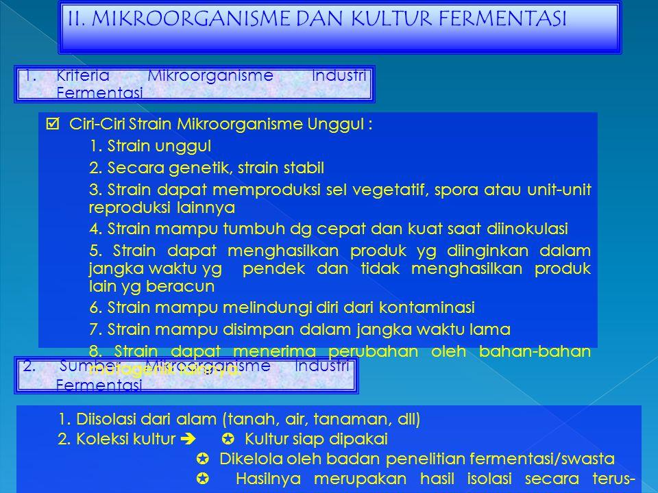 II. MIKROORGANISME DAN KULTUR FERMENTASI