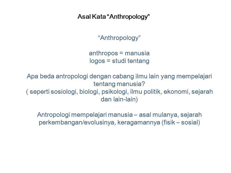 Asal Kata Anthropology