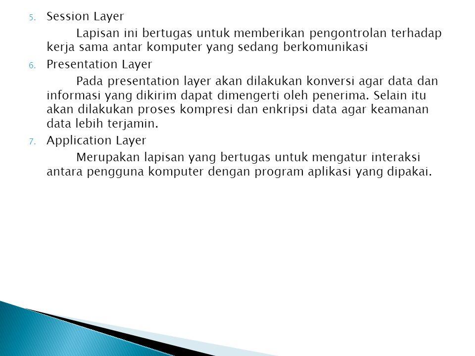 Session Layer Lapisan ini bertugas untuk memberikan pengontrolan terhadap kerja sama antar komputer yang sedang berkomunikasi.