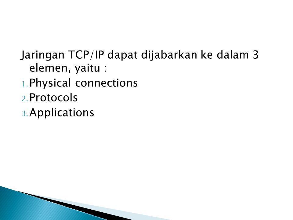 Jaringan TCP/IP dapat dijabarkan ke dalam 3 elemen, yaitu :