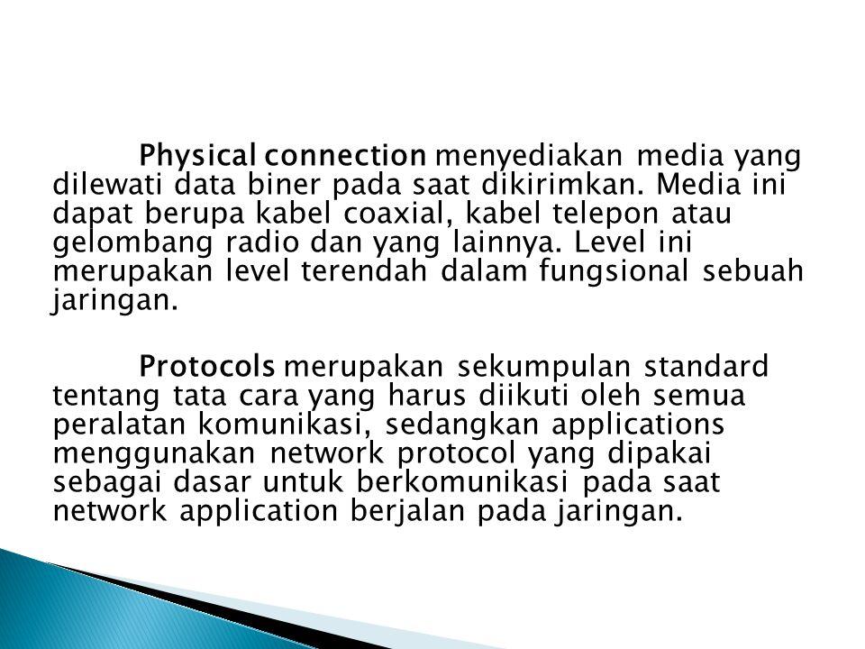 Physical connection menyediakan media yang dilewati data biner pada saat dikirimkan. Media ini dapat berupa kabel coaxial, kabel telepon atau gelombang radio dan yang lainnya. Level ini merupakan level terendah dalam fungsional sebuah jaringan.