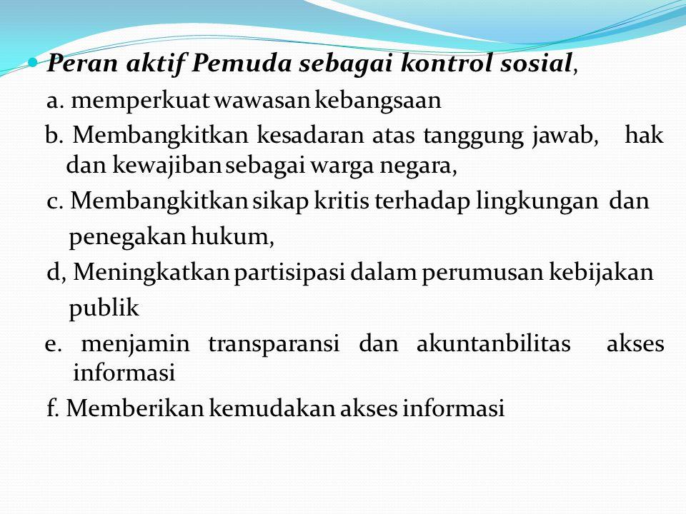 Peran aktif Pemuda sebagai kontrol sosial,