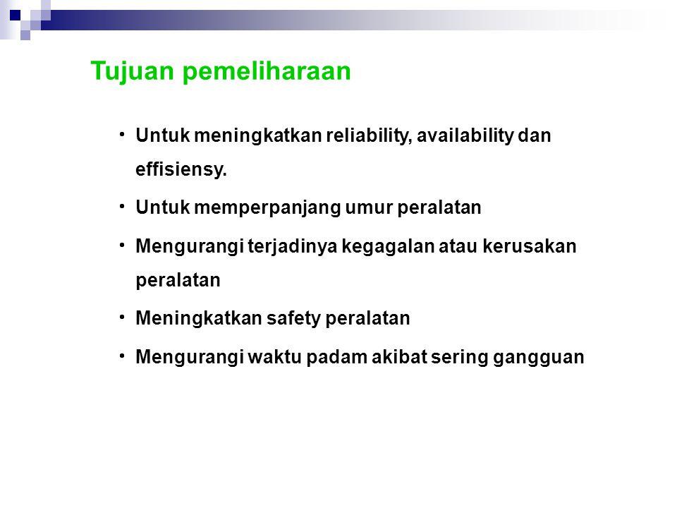 Tujuan pemeliharaan Untuk meningkatkan reliability, availability dan effisiensy. Untuk memperpanjang umur peralatan.