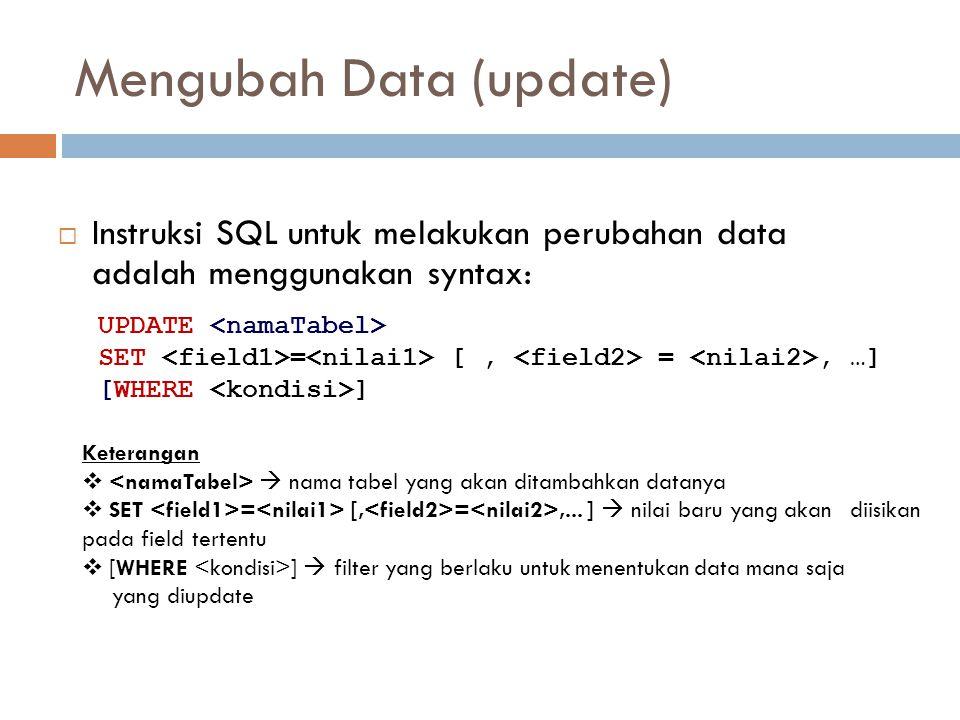 Mengubah Data (update)