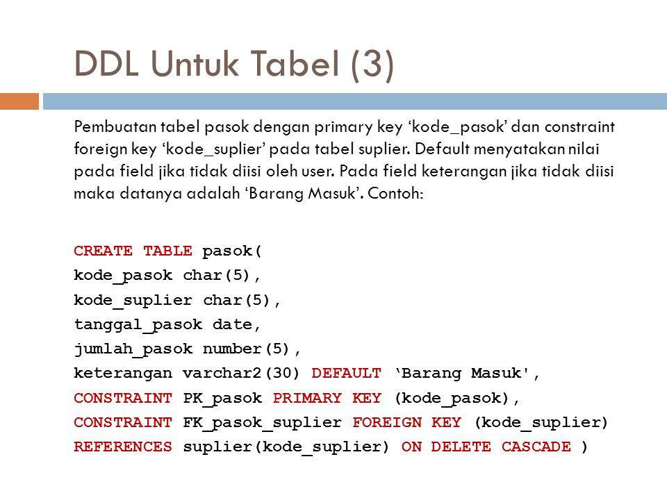 DDL Untuk Tabel (3)