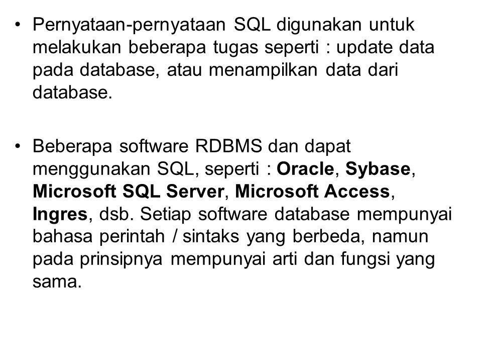 Pernyataan-pernyataan SQL digunakan untuk melakukan beberapa tugas seperti : update data pada database, atau menampilkan data dari database.