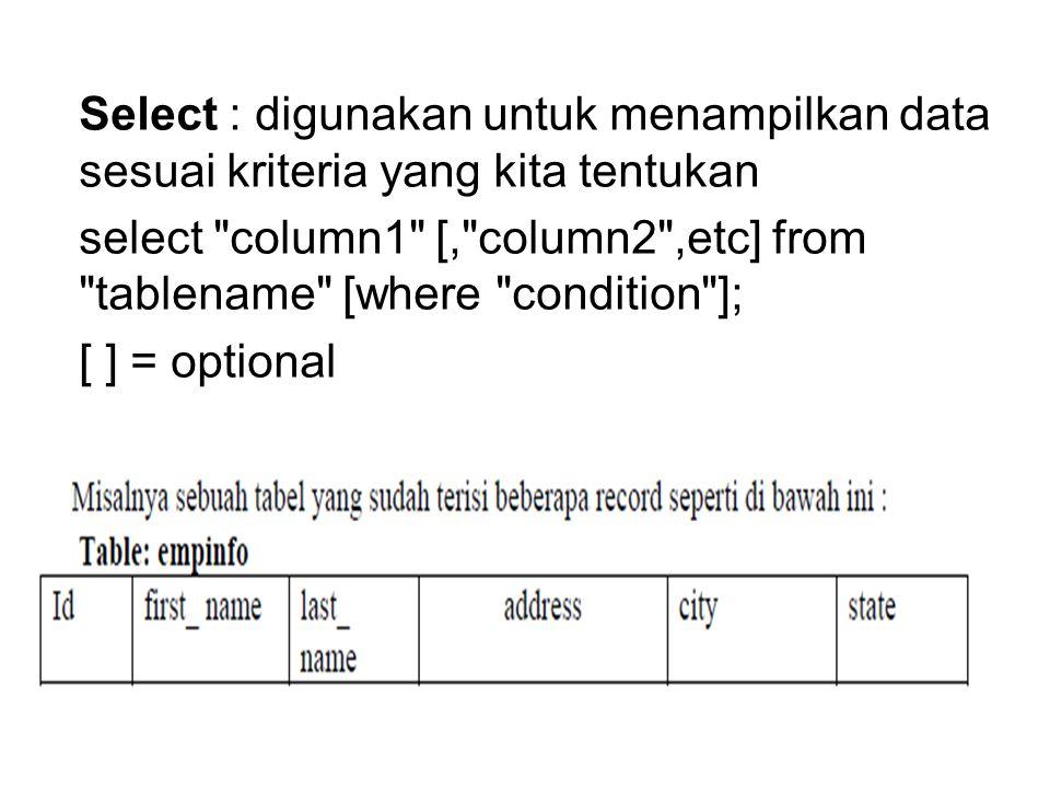 Select : digunakan untuk menampilkan data sesuai kriteria yang kita tentukan