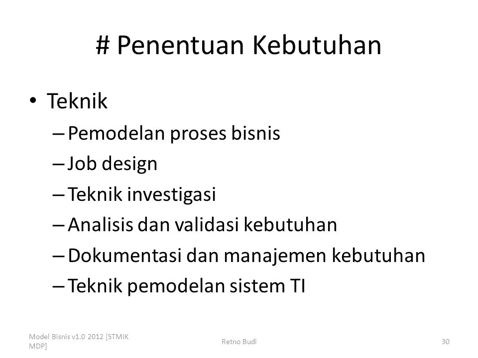 # Penentuan Kebutuhan Teknik Pemodelan proses bisnis Job design