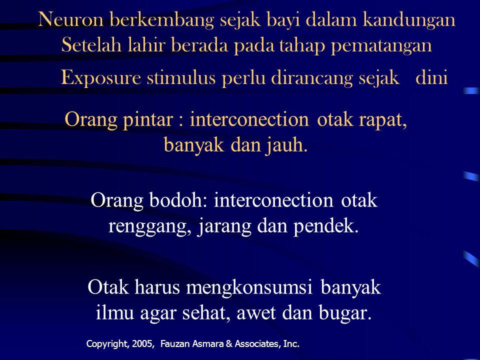 Orang pintar : interconection otak rapat, banyak dan jauh.