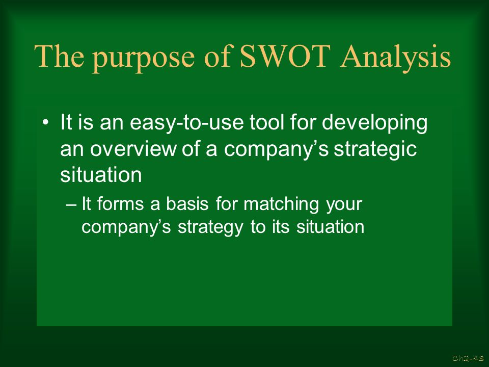 The purpose of SWOT Analysis