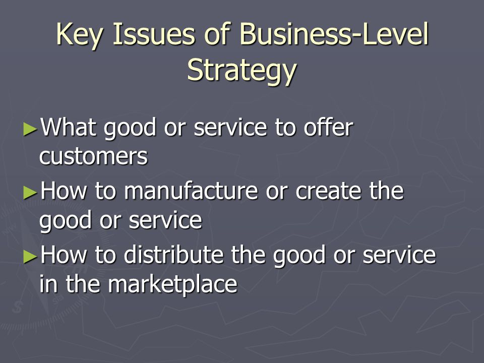 Key Issues of Business-Level Strategy