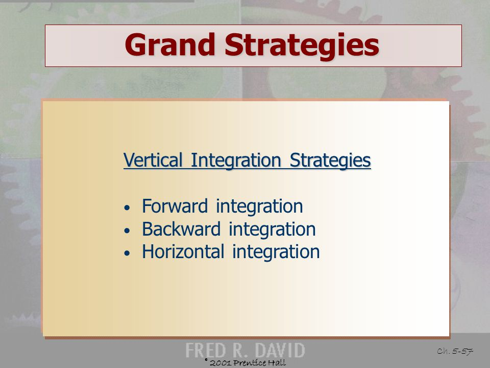 Grand Strategies Vertical Integration Strategies Forward integration