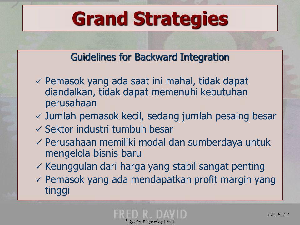 Guidelines for Backward Integration