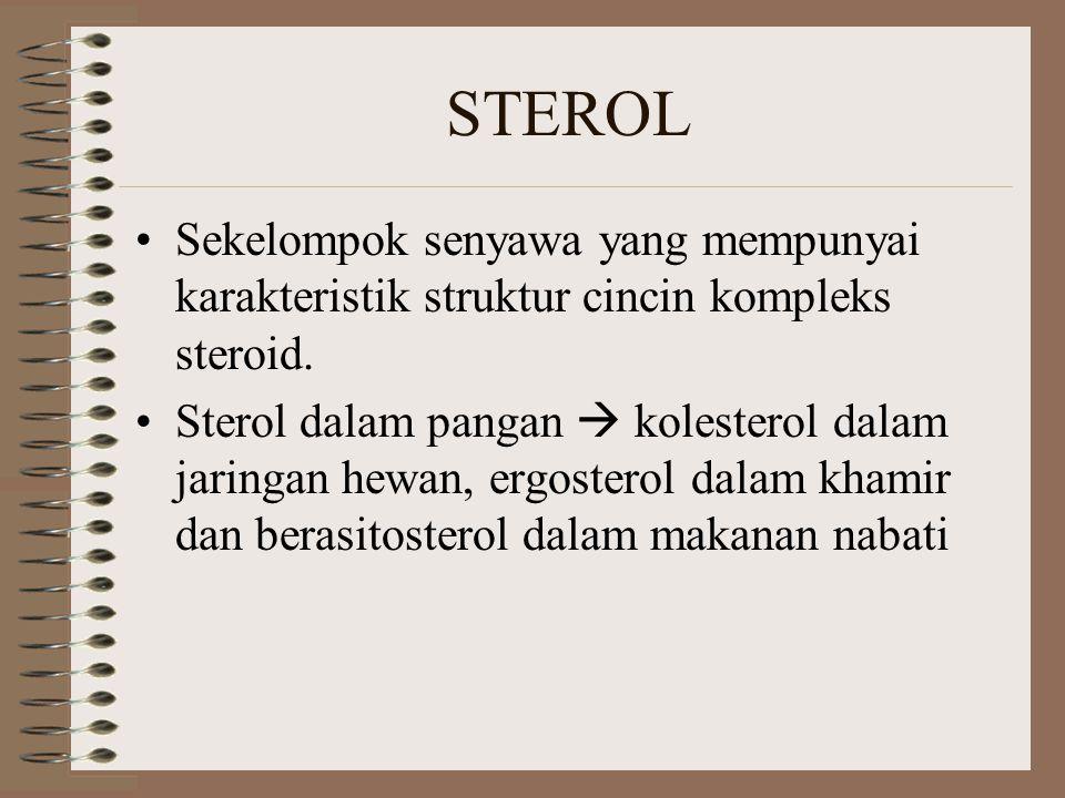 STEROL Sekelompok senyawa yang mempunyai karakteristik struktur cincin kompleks steroid.
