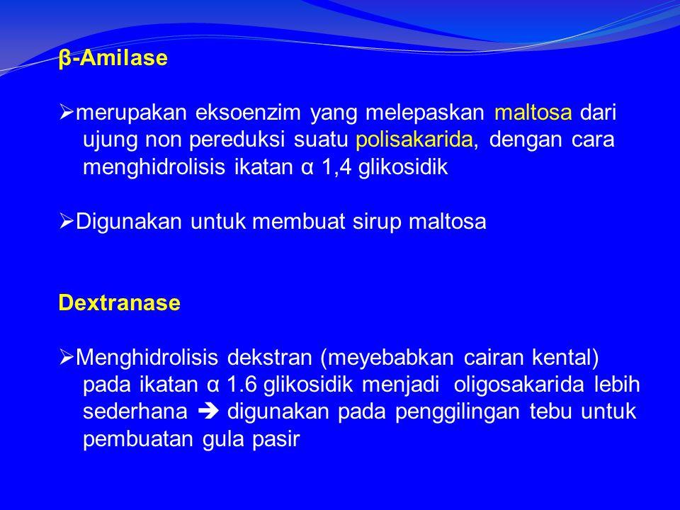 β-Amilase merupakan eksoenzim yang melepaskan maltosa dari. ujung non pereduksi suatu polisakarida, dengan cara.