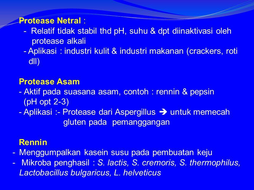 Protease Netral : - Relatif tidak stabil thd pH, suhu & dpt diinaktivasi oleh protease alkali.