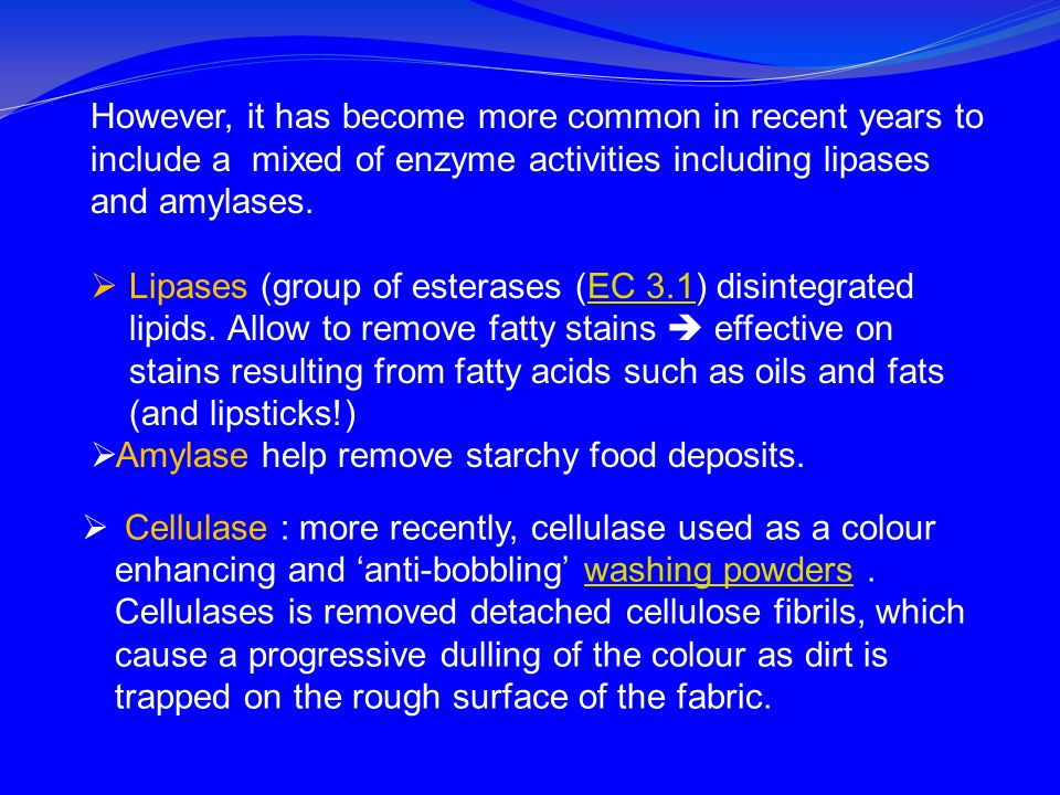 However, it has become more common in recent years to include a mixed of enzyme activities including lipases and amylases.