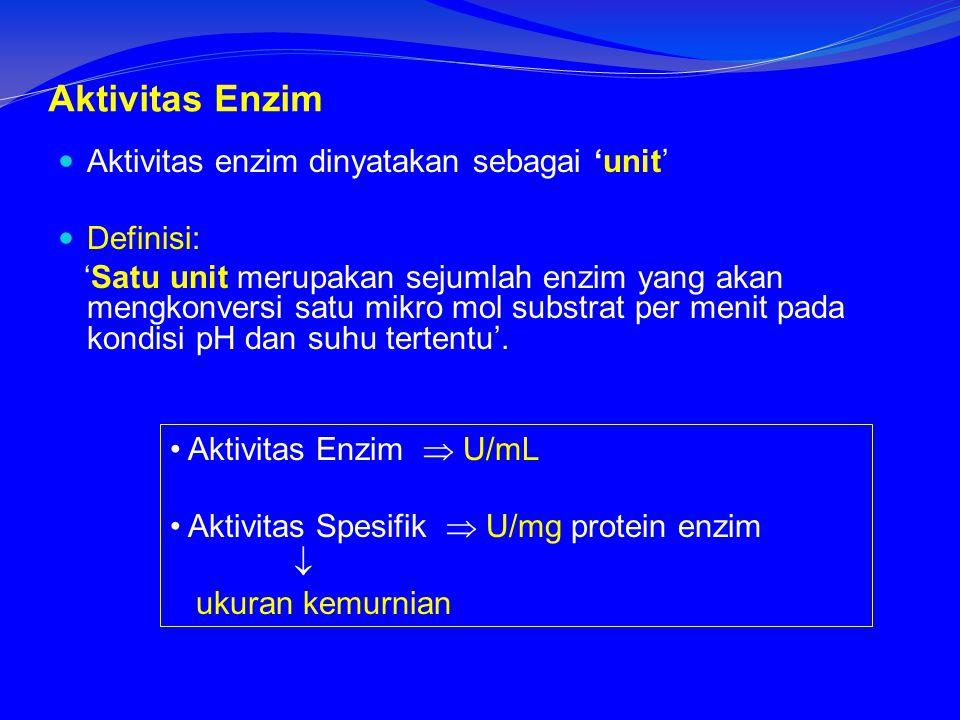 Aktivitas Enzim Aktivitas enzim dinyatakan sebagai 'unit' Definisi:
