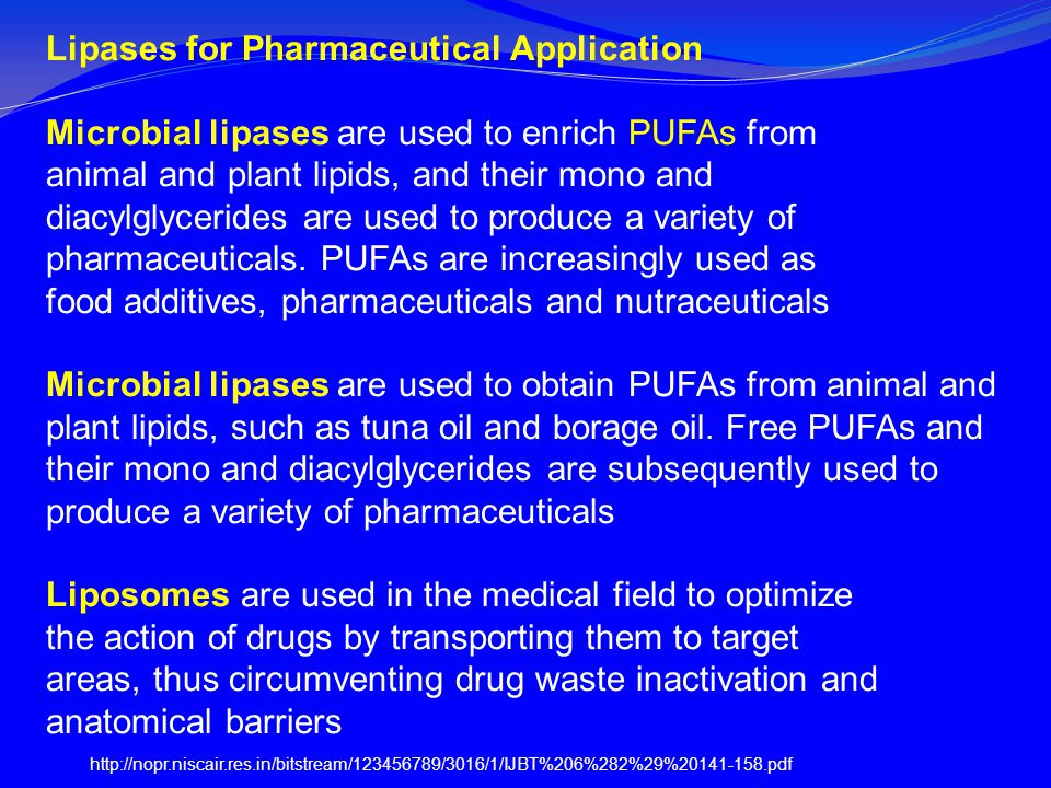 Lipases for Pharmaceutical Application