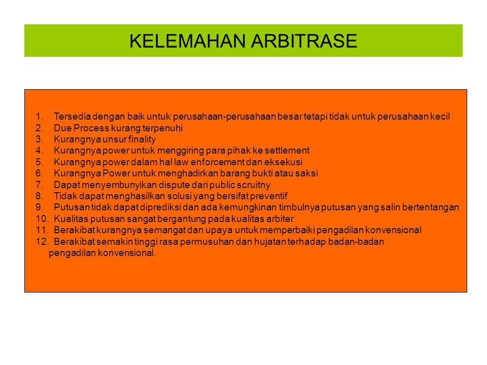 KELEMAHAN ARBITRASE Tersedia dengan baik untuk perusahaan-perusahaan besar tetapi tidak untuk perusahaan kecil.