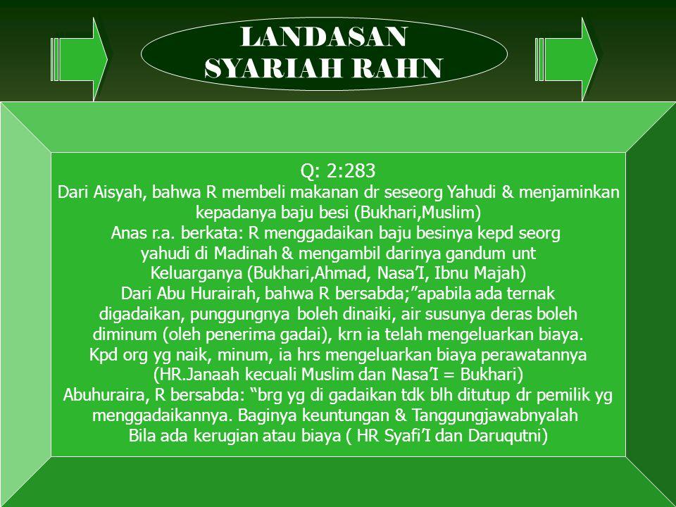 LANDASAN SYARIAH RAHN Q: 2:283