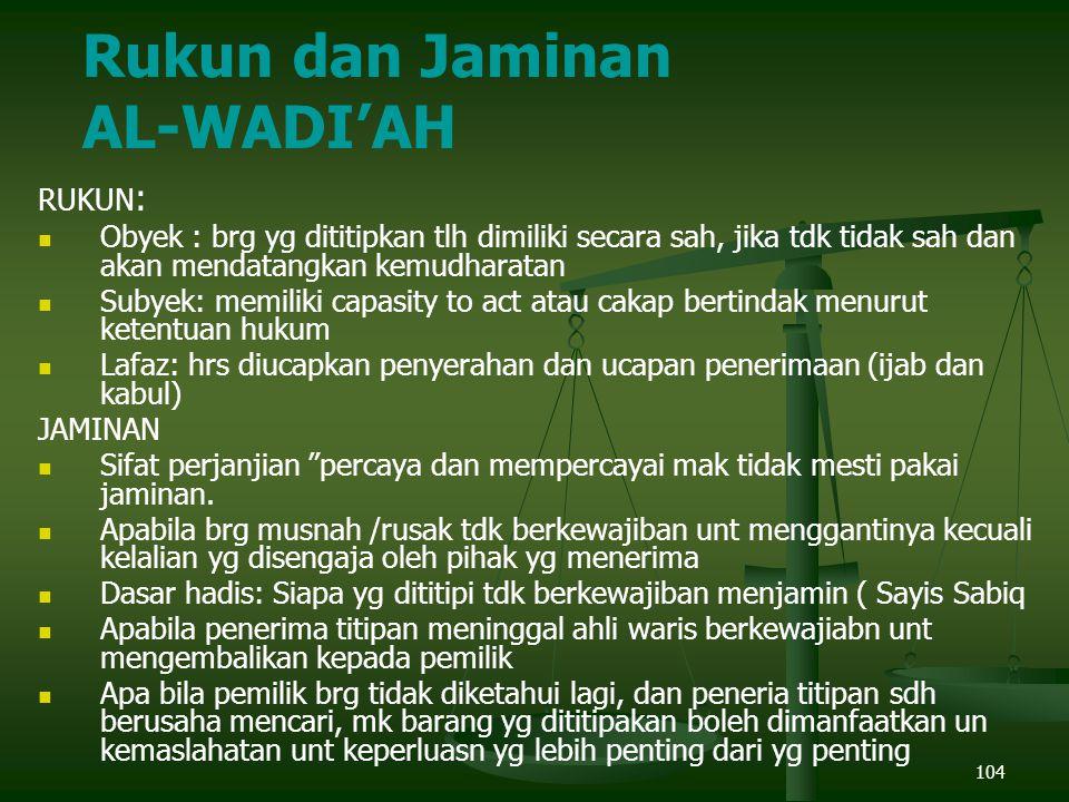 Rukun dan Jaminan AL-WADI'AH RUKUN: