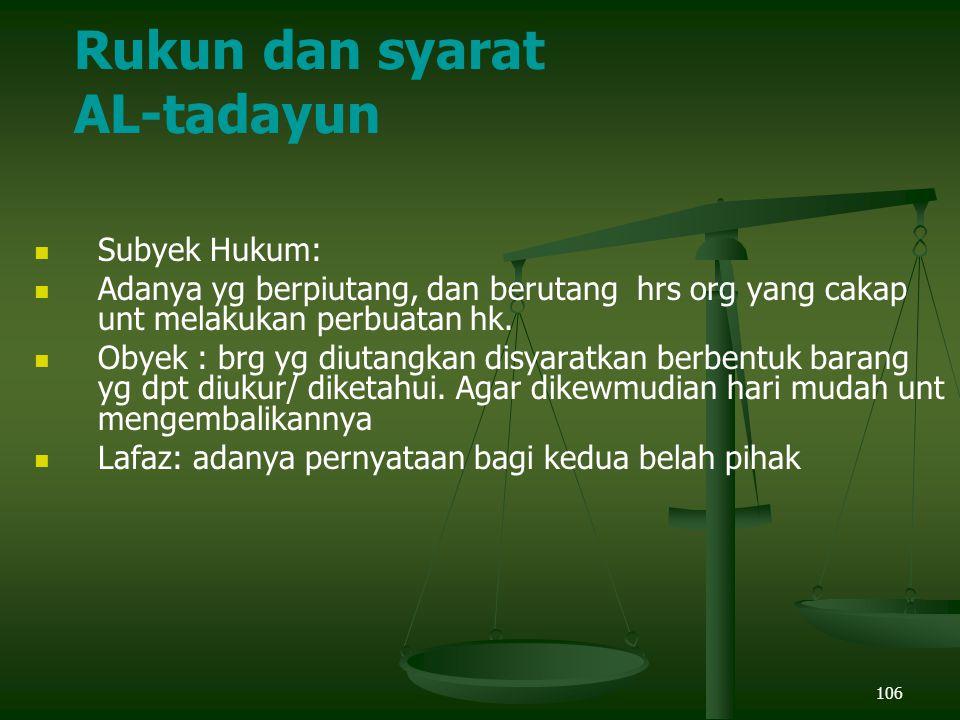 Rukun dan syarat AL-tadayun Subyek Hukum: