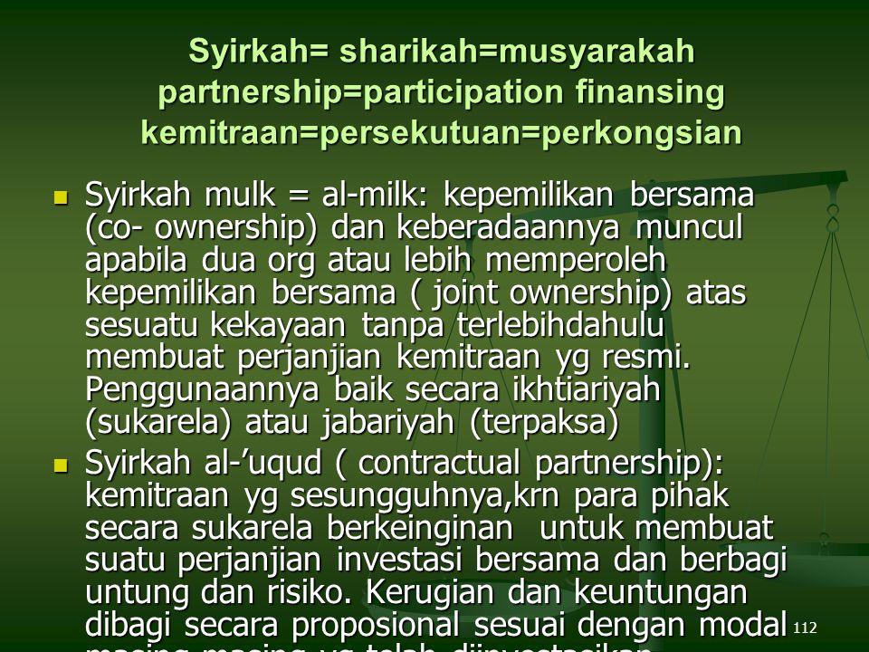 Syirkah= sharikah=musyarakah partnership=participation finansing kemitraan=persekutuan=perkongsian