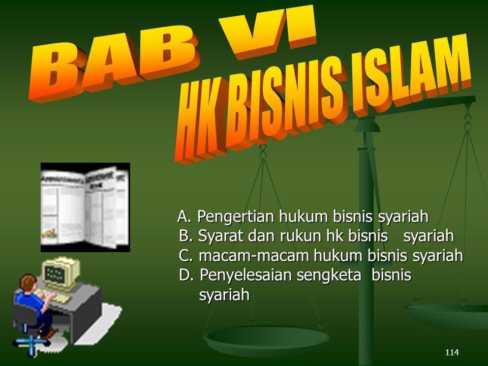 BAB VI HK BISNIS ISLAM B. Syarat dan rukun hk bisnis syariah