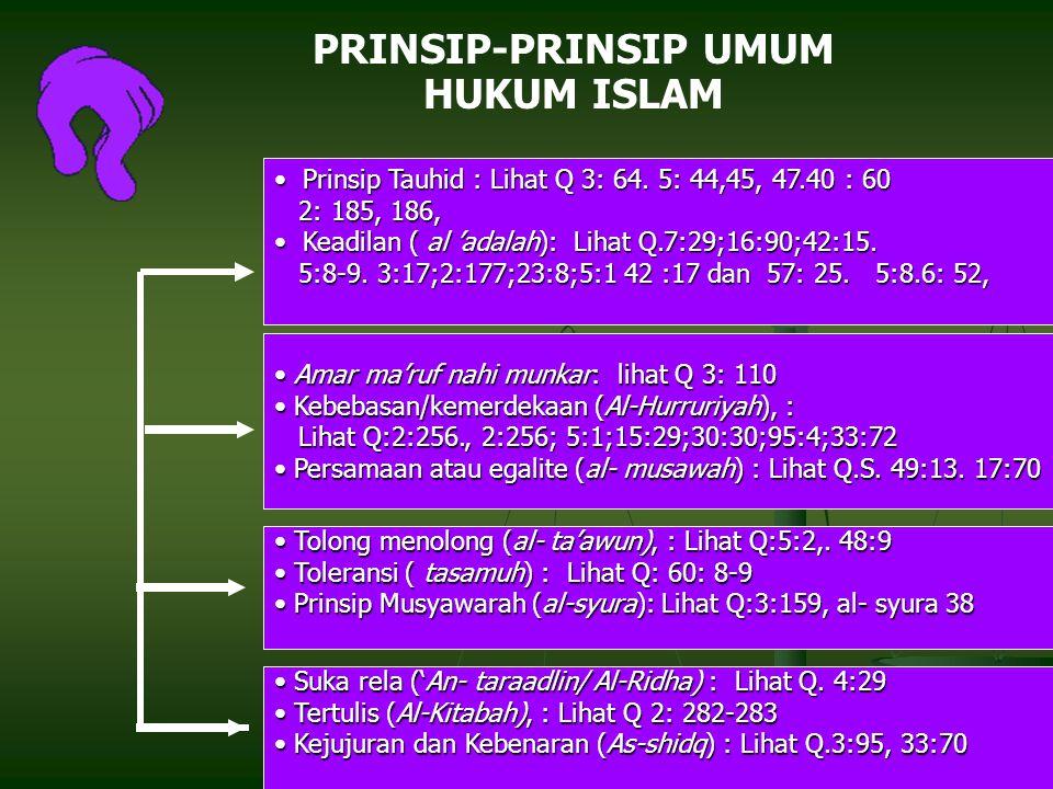 PRINSIP-PRINSIP UMUM HUKUM ISLAM
