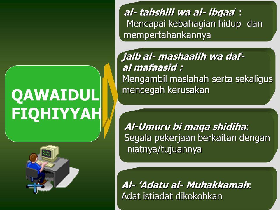 QAWAIDUL FIQHIYYAH al- tahshiil wa al- ibqaa' :
