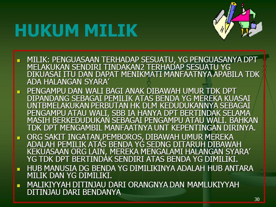 HUKUM MILIK
