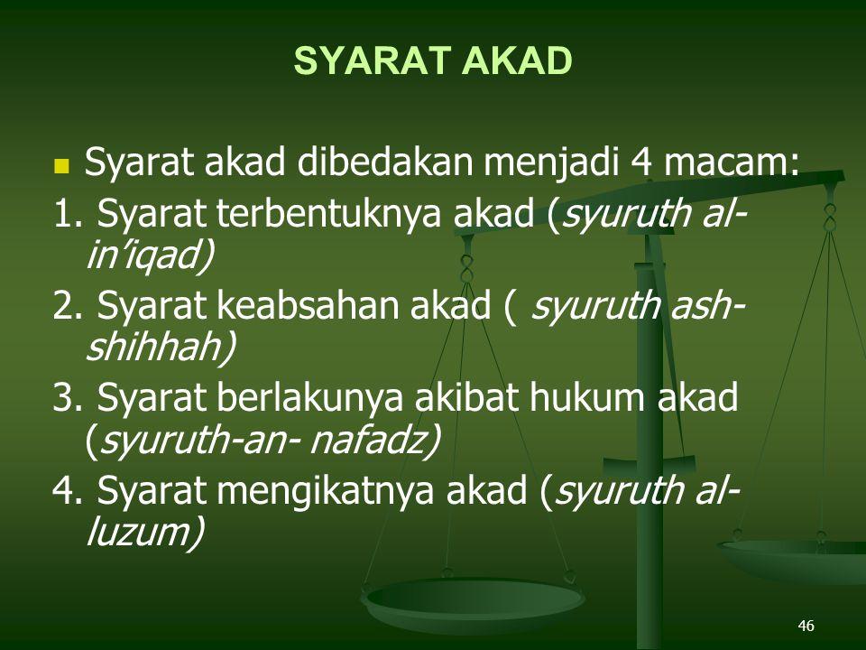 SYARAT AKAD Syarat akad dibedakan menjadi 4 macam: 1. Syarat terbentuknya akad (syuruth al- in'iqad)