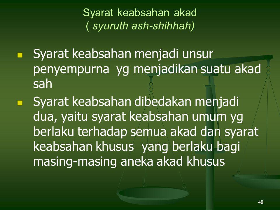 Syarat keabsahan akad ( syuruth ash-shihhah)