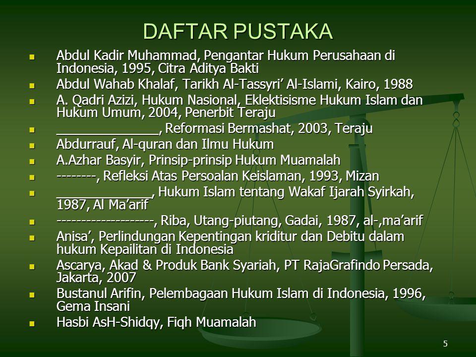 DAFTAR PUSTAKA Abdul Kadir Muhammad, Pengantar Hukum Perusahaan di Indonesia, 1995, Citra Aditya Bakti.