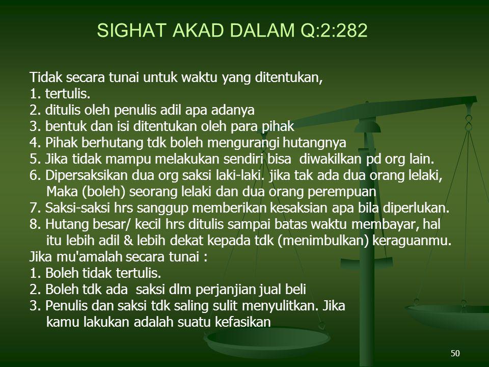 SIGHAT AKAD DALAM Q:2:282 Tidak secara tunai untuk waktu yang ditentukan, 1. tertulis. 2. ditulis oleh penulis adil apa adanya.