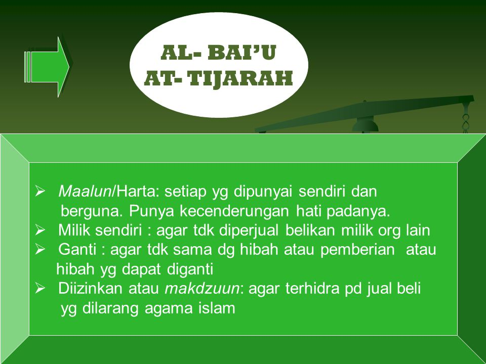 AL- BAI'U AT- TIJARAH Maalun/Harta: setiap yg dipunyai sendiri dan